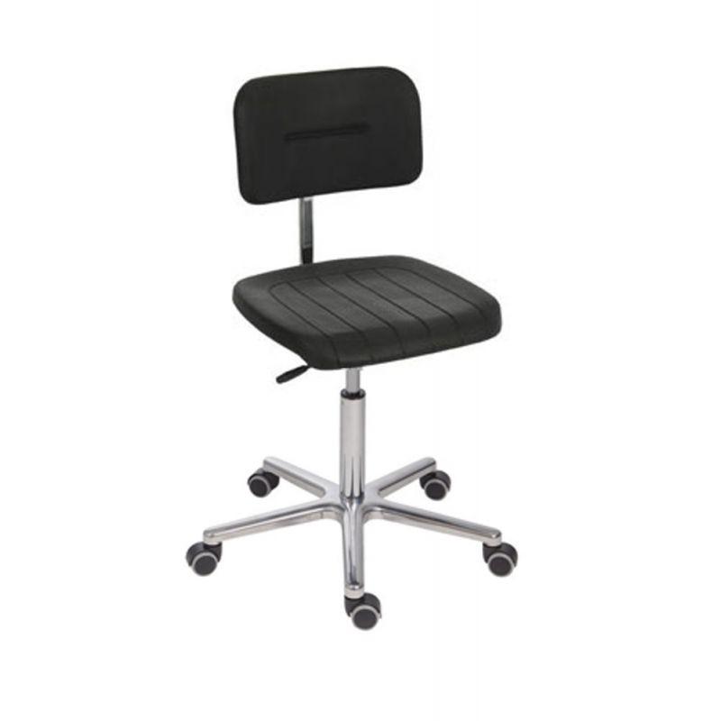 antistatischer esd arbeitsstuhl modell 6645 mit rollen und aluminiumf. Black Bedroom Furniture Sets. Home Design Ideas