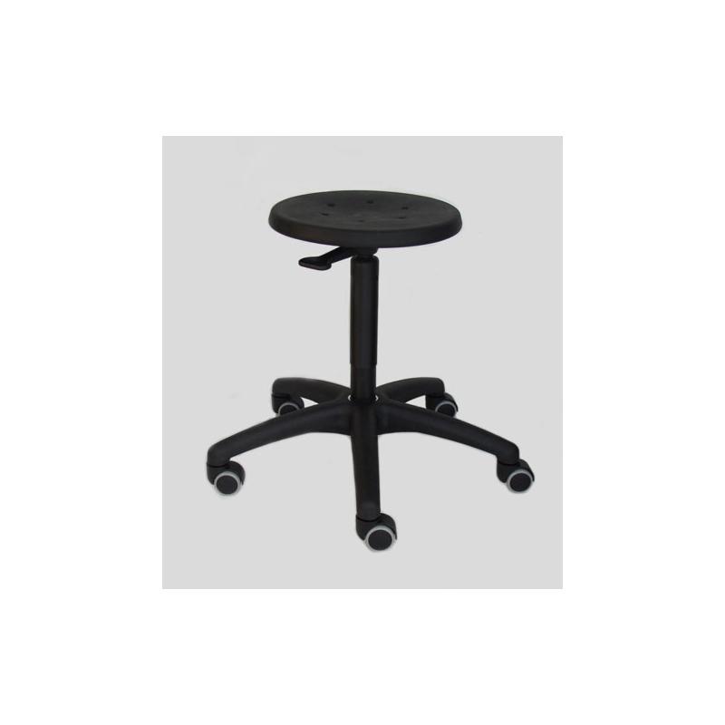 PU-Sitz schwarz Ringauslösung von Lotz Dreh-Hocker Modell 3520 mit Rollen